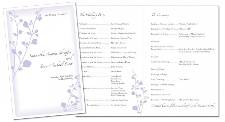 wedding program booklet